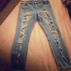 Cello distressed denim with bottom cuffing
